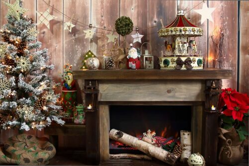 Rustic Fireplace with carousel Photography Backdrop