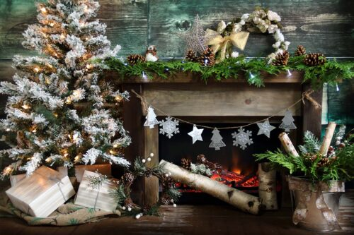 Rustic Fireplace Cedars Photography Backdrop