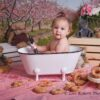 Donut Smash Session with Pink Blossom Trees Backdorp