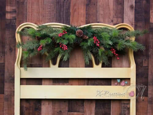 Christmas Swag Headboard Photography Backdrop