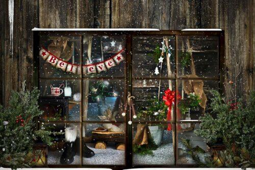 Through Santa's Window Backdrop
