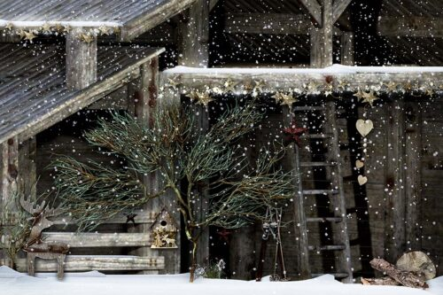 Country Christmas Barn Backdrop