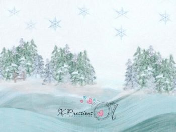 Winter Snow Covered Evergreen Trees Photography Backdrops