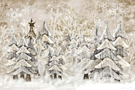 Woodsy Winter Trees Photography Backdrop