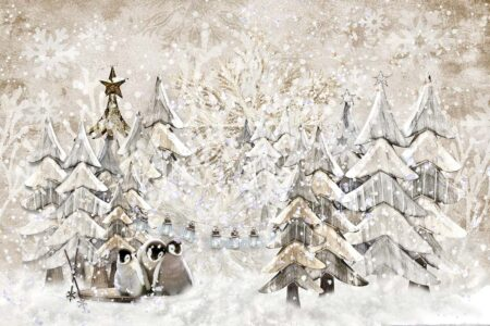 Winter Trees & Penguins Photography Backdrop