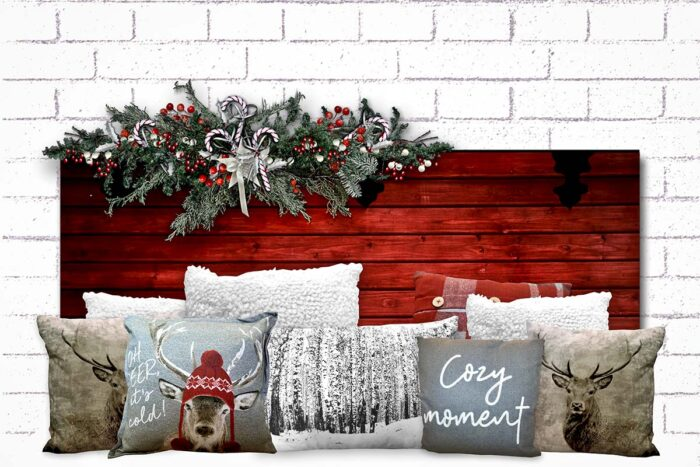 Christmas Red Headboard Backdrop with pillows