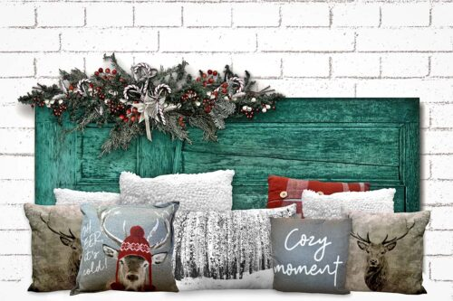 Christmas Teal Headboard Backdrop with pillows