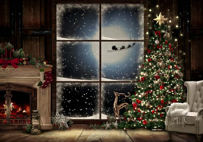 Christmas Eve backdrop featuring tree and fireplace