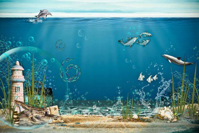 Underwater Deep Blue Sea Backdrop