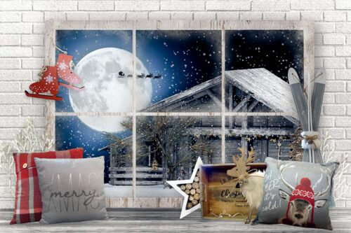 Merry Xmas Backdrop with Window