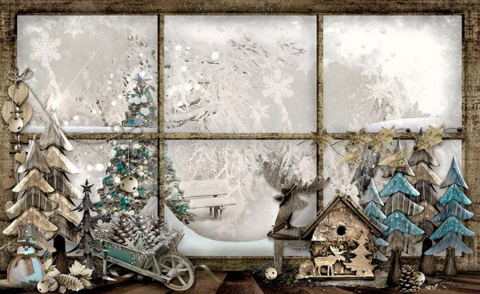 Whimsical Holiday Window Photography Backdrop