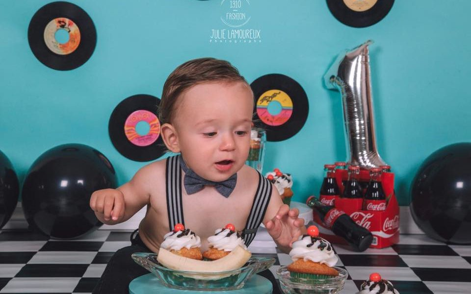Vintage Themed Photoshoot with records and checkered floor