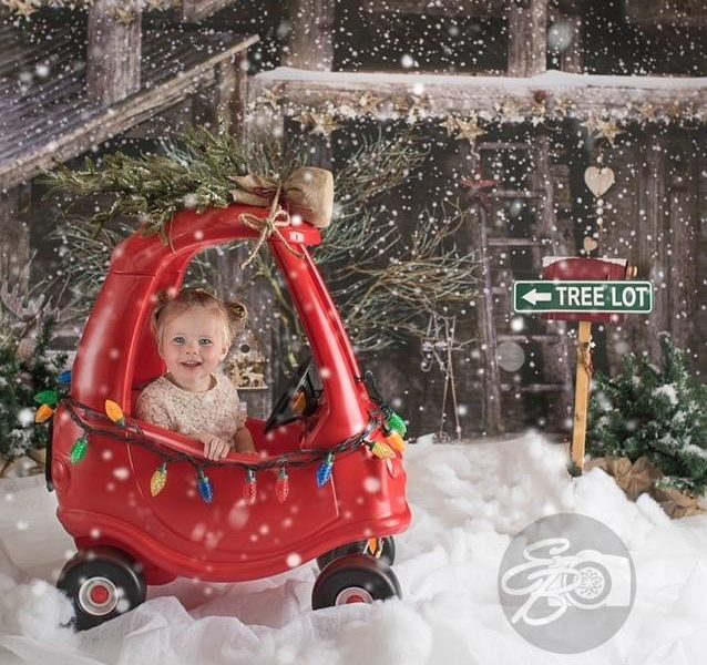 Country Barn Backdrop with toddler in mini red car with tree on top