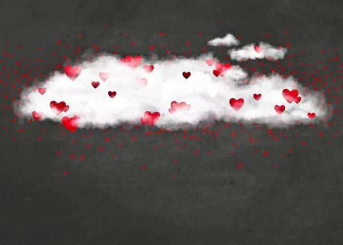 Cloud of Hearts on Chalkboard Backdrop