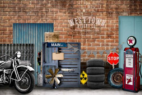 Bike Shop Themed Photography Backdrop