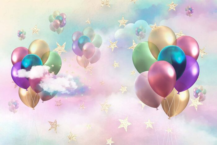 Ballons in the Clouds Birthday Backdrop