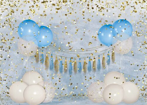 Big Birthday Balloons Blue Backdrop