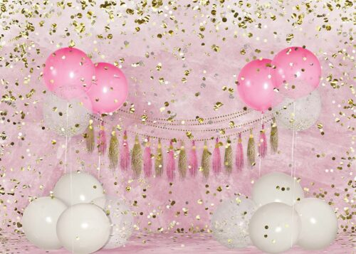 Big Birthday Balloons Pink Backdrop