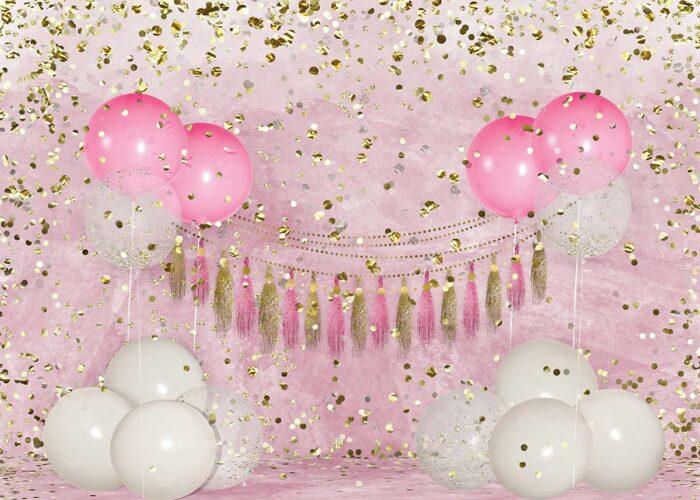 Big Birthday Balloons Pink Backdrop