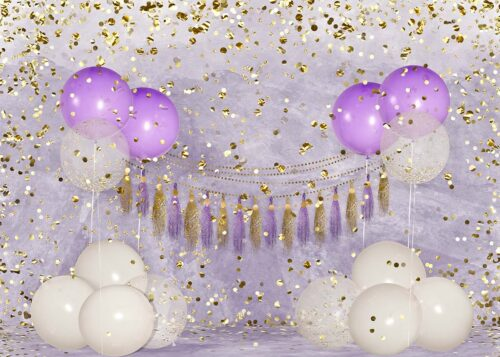 Big Birthday Balloons Purple Backdrop