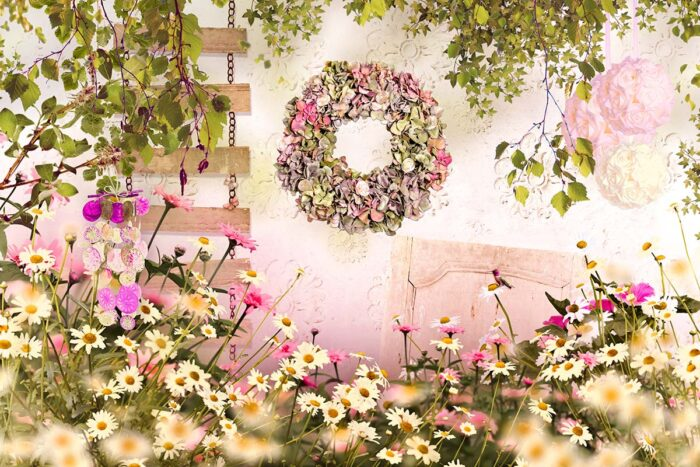 Blush Floral Garden Wall Photography Backdrop