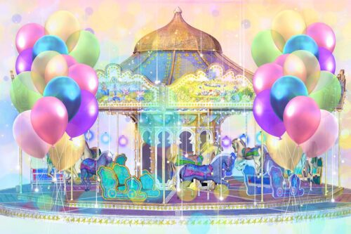 Carousel Themed Photography Backdrop