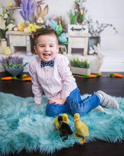 Easter Photoshoot with little boy and baby chicks