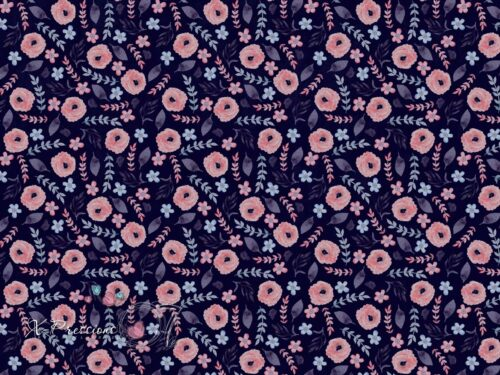 Photography Backdrop Dark Blue Floral Wallpaper