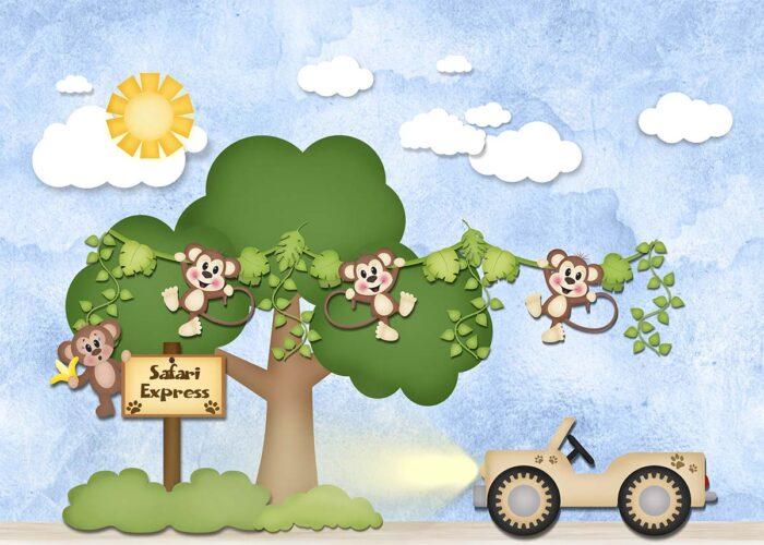 Monkey Safari Backdrop