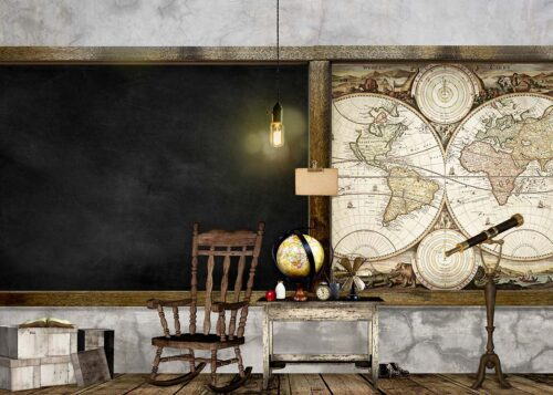 Vintage Classroom Photography Backdrop