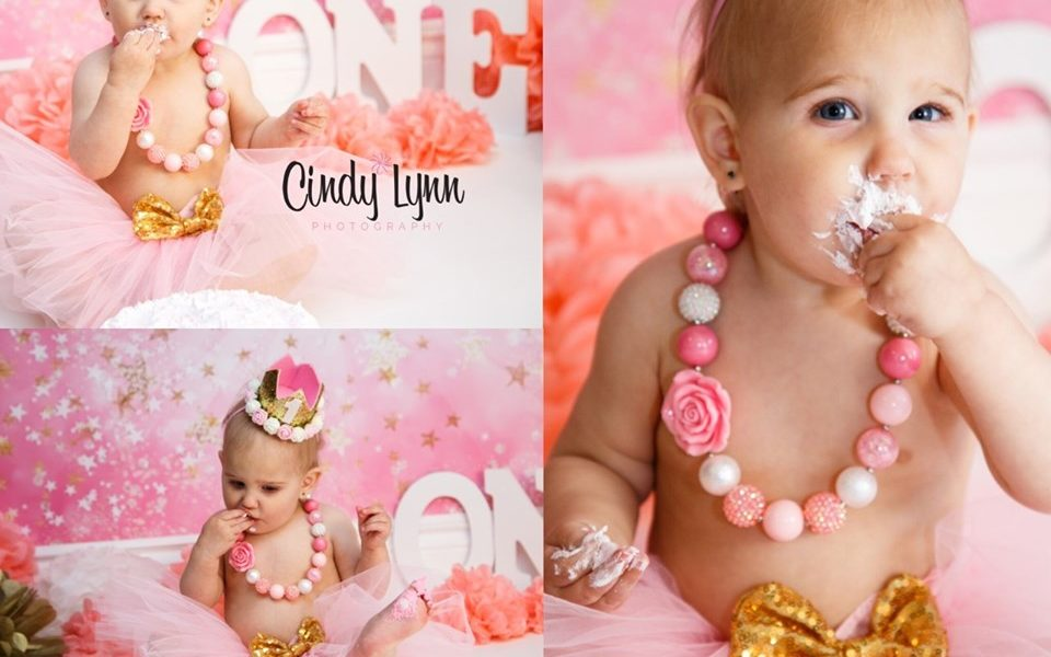 First Birthday Photo Session with Pink Starburst Backdrop