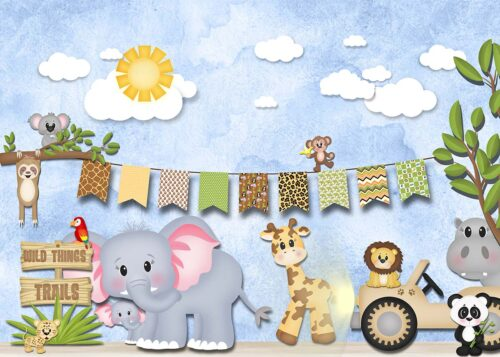 Safari Themed Backdrop with cute animals