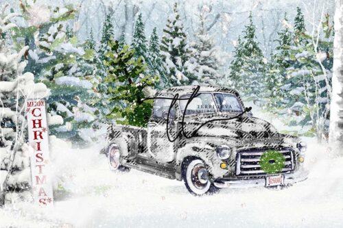 Black Plaid Xmas Backdrop with Vintage Truck