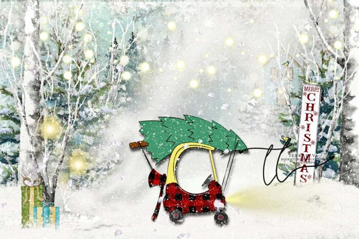 Backdrop featuring child's mini couple carrying a Christmas Tree in the forest