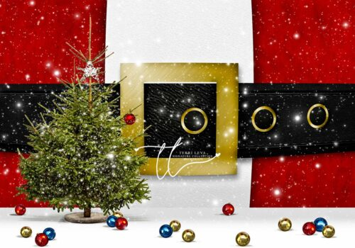 Backdrop featuring Christmas Tree without decorations and Santa Suit Buckle