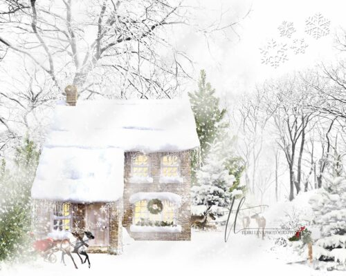 Backdrop featuring a Snow Covered Cottage surrounded by Reindeer, could it be Santas?