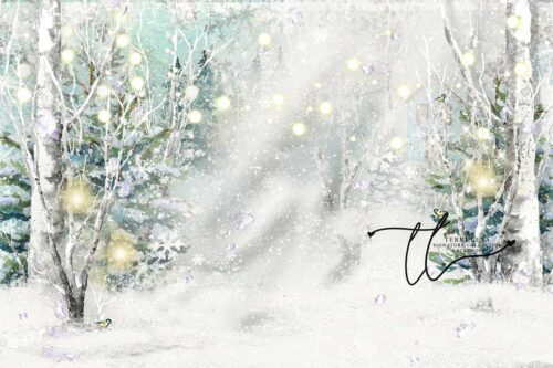 Backdrop featuring snow scene with chickadees