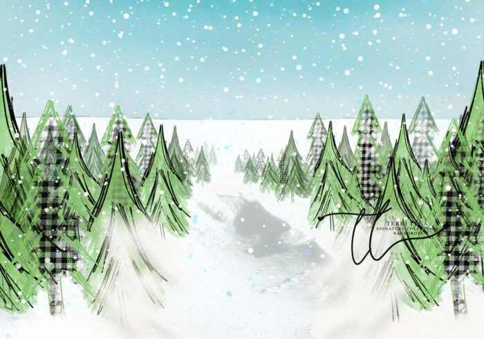 Whimsical Green Snow Covered Tree Backdrop