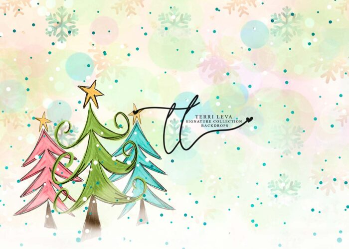 Multi-coloured Backdrop with 3 whimsical christmas trees