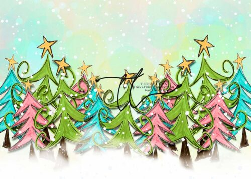 Backdrop featuring green, pink and blue whimsey xmas trees
