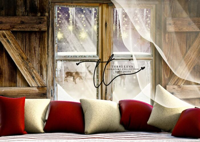 Backdrop of Window Sill with Throw Pillows in Red and White