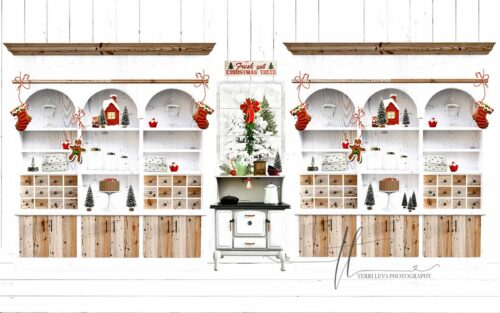 Backdrop featuring Mrs. Claus' Kitchen