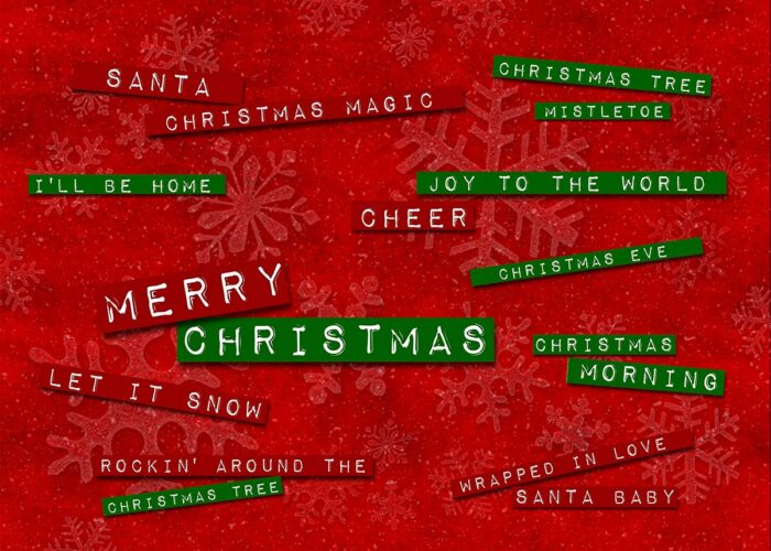 Christmas Themed Backdrop with Christmas Labels