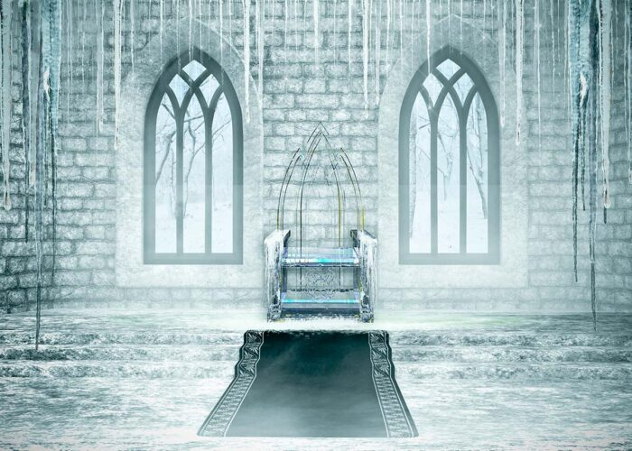Backdrop featuring a castle throne made of ice