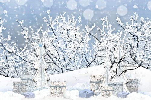Winter Backdrop featuring gifts in the snow