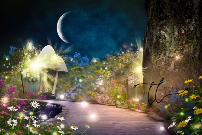 A fairy inspired backdrop featuring a path surrounded by flowers leading to a little house