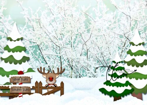Backdrop of Winter Scene with sign for Reindeer Rides