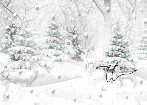 Winter Backdrop with snow covered evergreen trees and deer