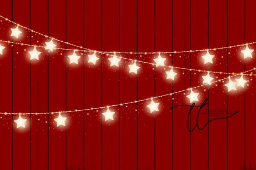 Backdrop of Stars on a Red Wood Background
