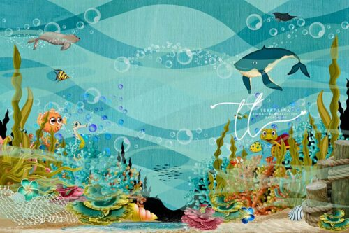 Photography Backdrop featuring cute sea animals